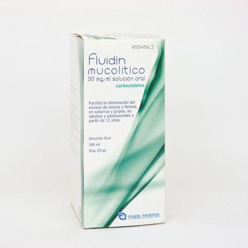 FLUIDIN MUCOLITICO 50 MG/ML SOLUCION ORAL , 1 frasco de 200 ml