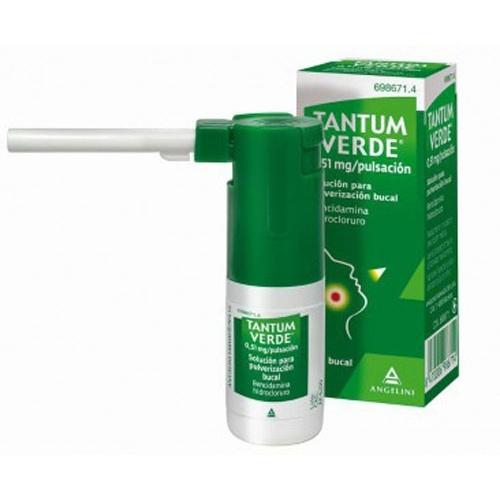 TANTUM VERDE 0,255 mg/PULSACION SOLUCION PARA PULVERIZACION BUCAL, 1 frasco de 15 ml