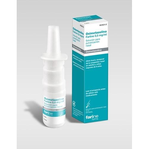 OXIMETAZOLINA FARLINE  0,5 mg/ml SOLUCION PARA PULVERIZACION NASAL , 1 frasco de 15 ml